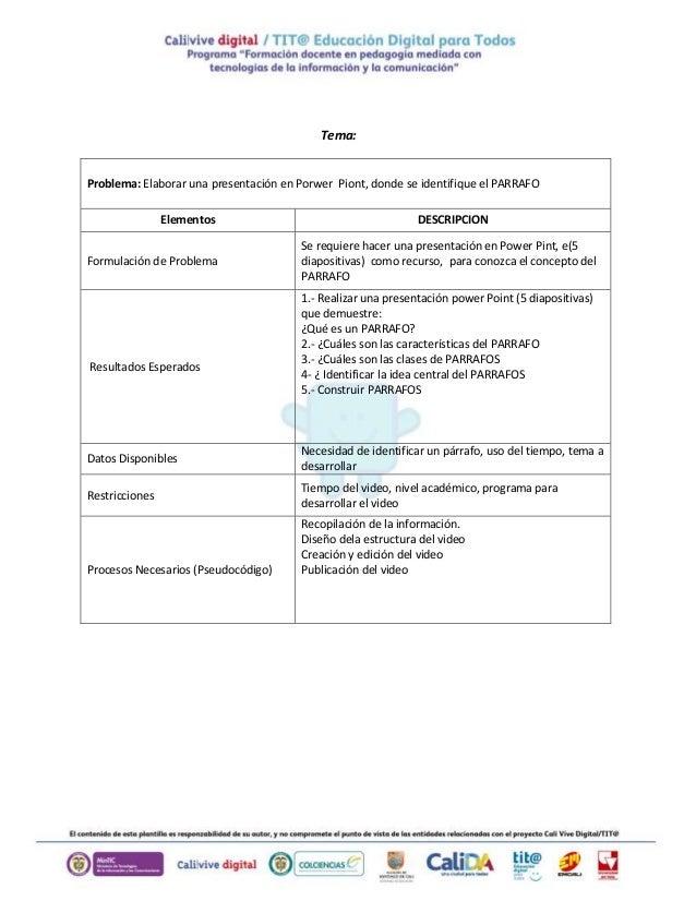 Tema: Problema: Elaborar una presentación en Porwer Piont, donde se identifique el PARRAFO Elementos DESCRIPCION Formulaci...