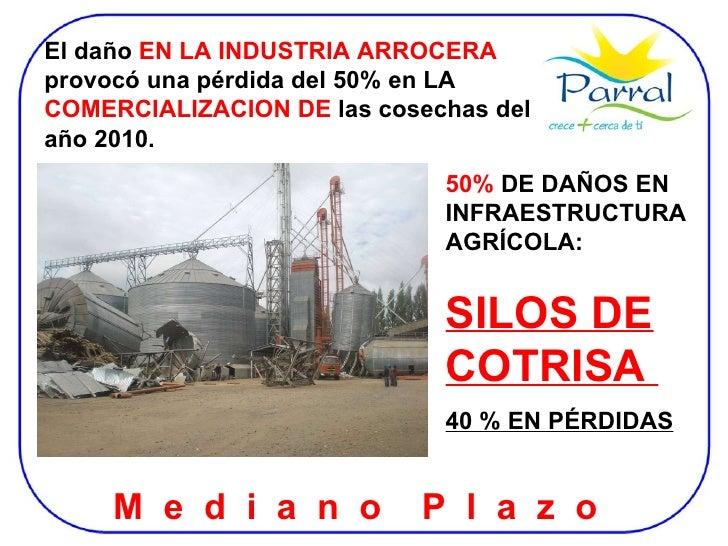 El daño  EN LA INDUSTRIA ARROCERA  provocó una pérdida del 50% en LA  COMERCIALIZACION DE  las cosechas del año 2010. 50% ...