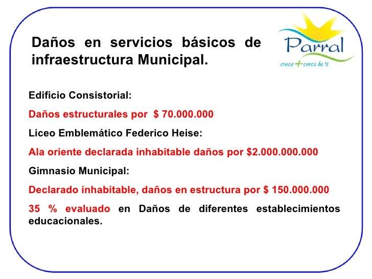 Daños en servicios básicos de infraestructura Municipal. Edificio Consistorial:  Daños estructurales por  $ 70.000.000 Lic...