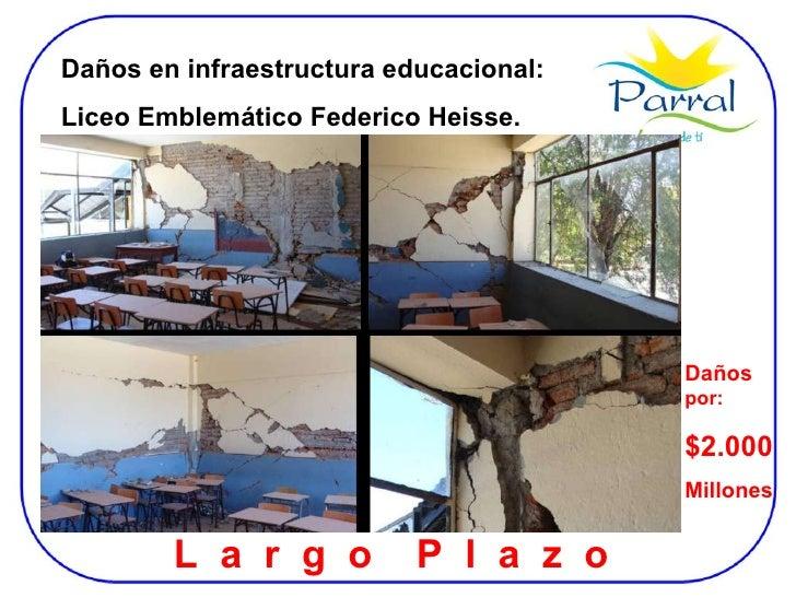 Daños en infraestructura educacional:  Liceo Emblemático Federico Heisse. L  a  r  g  o  P  l  a  z  o  Daños  por: $2.000...