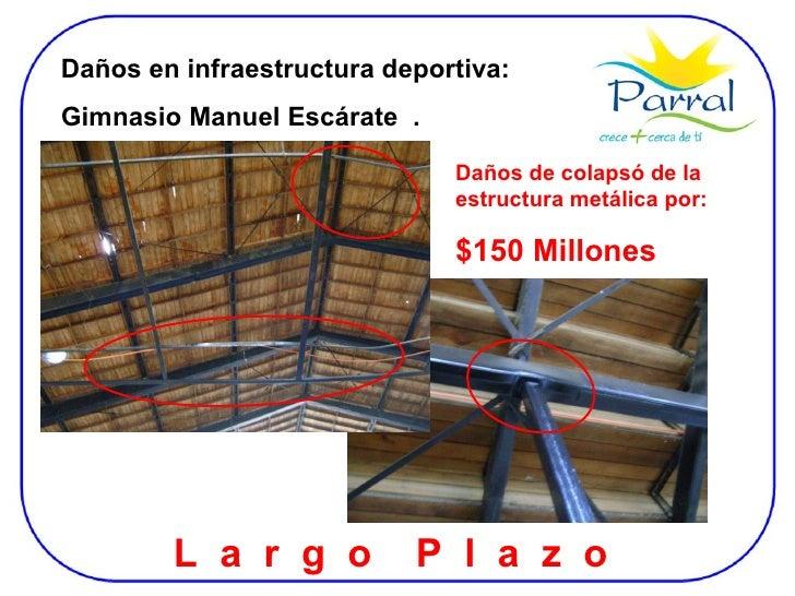 Daños en infraestructura deportiva:  Gimnasio Manuel Escárate  . L  a  r  g  o  P  l  a  z  o  Daños de colapsó de la estr...