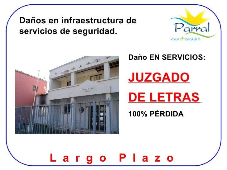 Daños en infraestructura de servicios de seguridad. Daño EN SERVICIOS: JUZGADO DE LETRAS   100% PÉRDIDA L  a  r  g  o  P  ...