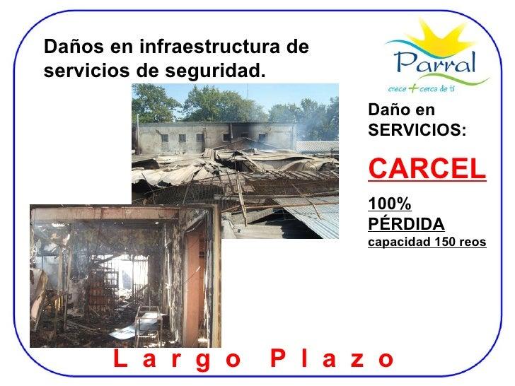 Daño en SERVICIOS: CARCEL   100% PÉRDIDA  capacidad 150 reos L  a  r  g  o  P  l  a  z  o  Daños en infraestructura de ser...