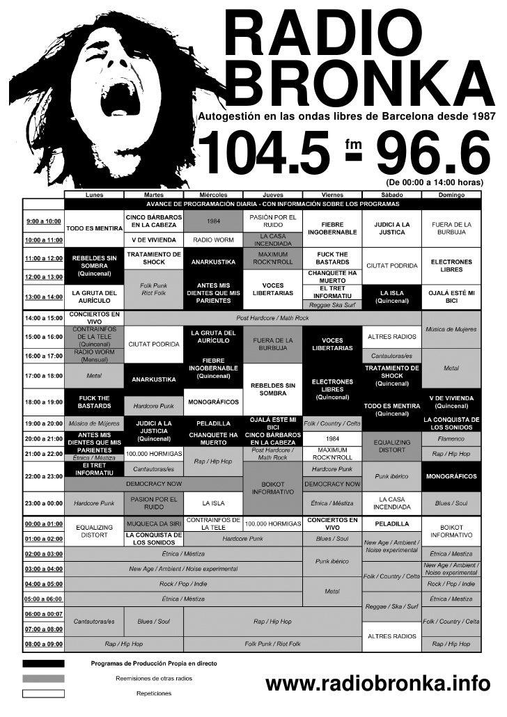 RADIO BRONKAAutogestión en las ondas libres de Barcelona desde 1987104.5 - 96.6               fm                          ...