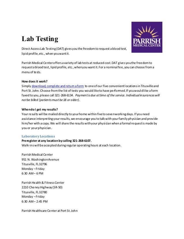 Lab Testing Parrish Medical Center