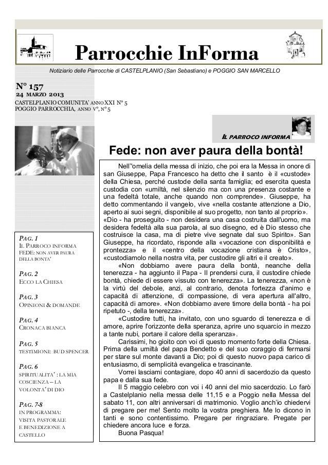 Parrocchie InForma dei doni di Dio            Notiziario delle Parrocchie di CASTELPLANIO (San Sebastiano) e POGGIO SAN MA...