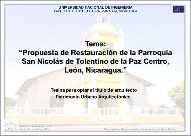 UNIVERSIDAD NACIONAL DE INGENIERIA                                   FACULTAD DE ARQUITECTURA, MANAGUA, NICARAGUA         ...