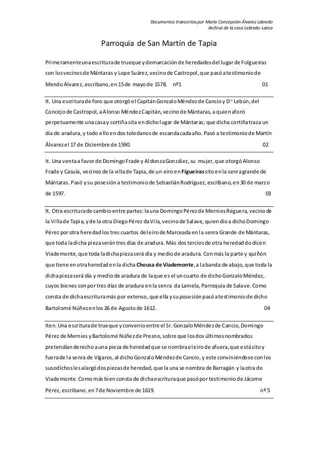 Documentos transcritos por María Concepción Álvarez Lebredo Archivo de la casa Lebredo-Lanza Parroquia de San Martín de Ta...
