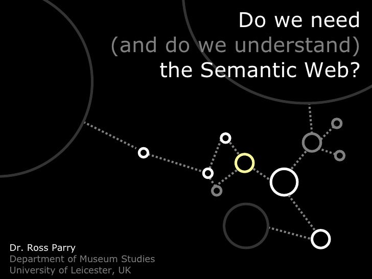 Do we need (and do we understand) the Semantic Web? Dr. Ross Parry Department of Museum Studies University of Leicester, UK