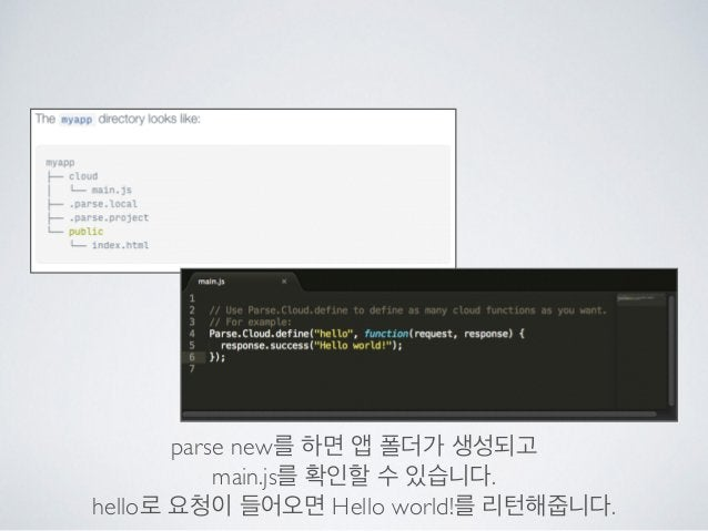 parse new를 하면 앱 폴더가 생성되고  main.js를 확인할 수 있습니다.  hello로 요청이 들어오면 Hello world!를 리턴해줍니다.