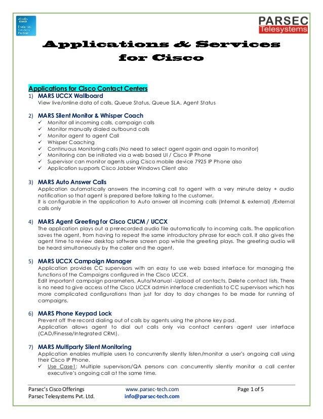 Parsec's Cisco Applications