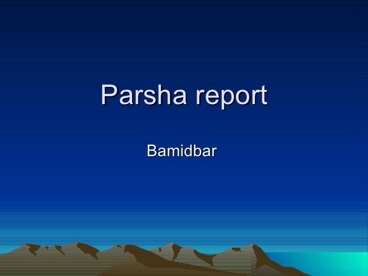 Parsha report Bamidbar