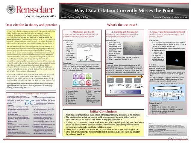 Mark A. Parsons and Peter A. Fox 19 December 2014 Why Data Citation Currently Misses the Point References: 1Joint Declarat...