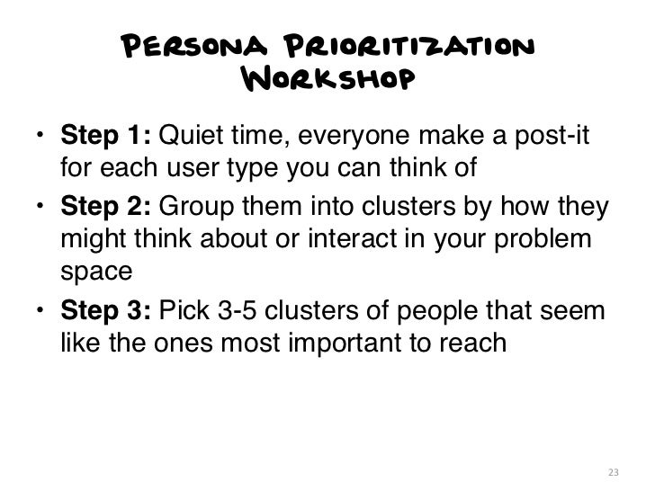 Persona Prioritization            Workshop• Step 1: Quiet time, everyone make a post-it  for each user type you can think ...