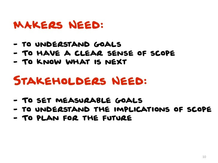 MAkers Need:- to understand goals- To have a clear sense of scope- To know what is nextStakeholders Need:- To set measurab...
