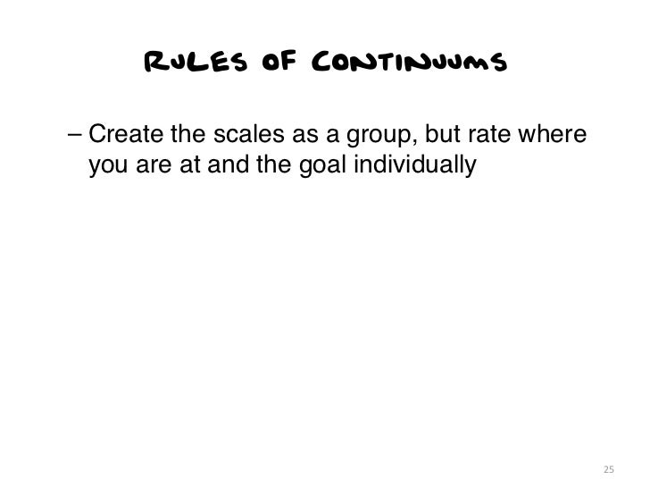 Rules of Continuums– Create the scales as a group, but rate where  you are at and the goal individually                   ...
