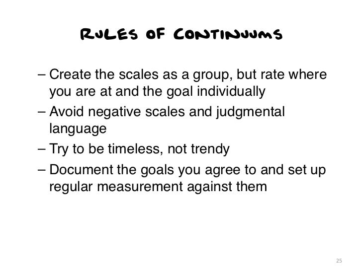 Rules of Continuums– Create the scales as a group, but rate where  you are at and the goal individually– Avoid negative sc...