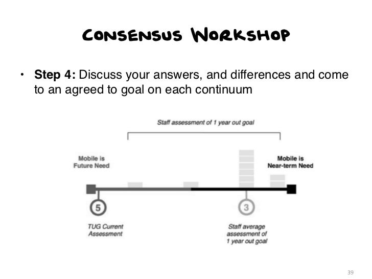 Consensus Workshop• Step 4: Discuss your answers, and differences and come  to an agreed to goal on each continuum        ...