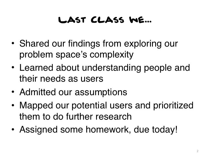 Last Class we...• Shared our findings from exploring our  problem space's complexity• Learned about understanding people an...