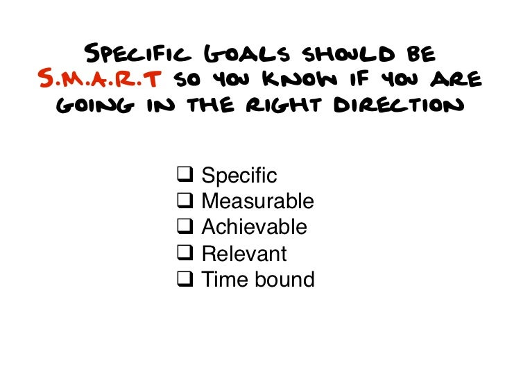 Specific Goals should beS.M.A.R.T so you know if you are going in the right direction         q Specific         q Measur...