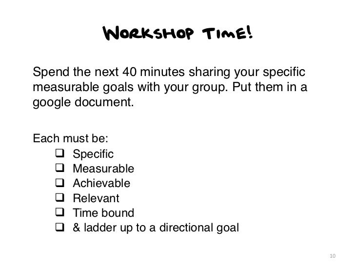 Workshop Time!Spend the next 40 minutes sharing your specificmeasurable goals with your group. Put them in agoogle document...
