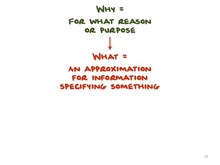 Why = For what reason    or purpose      What =  An approximation   for informationspecifying something                   ...