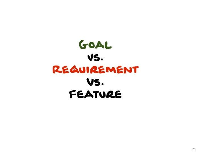 Goal    Vs.Requirement    vs.  Feature              25