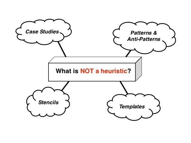 Case Studies                      Patterns &                                 Anti-Patterns           What is NOT a heurist...