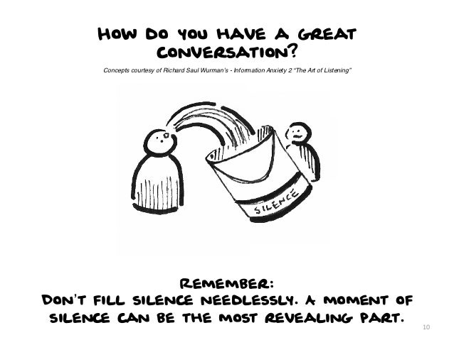 """How do you have a great           conversation?      Concepts courtesy of Richard Saul Wurman's - Information Anxiety 2 """"T..."""