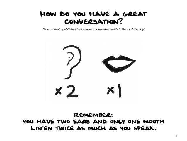 """How do you have a great         conversation?     Concepts courtesy of Richard Saul Wurman's - Information Anxiety 2 """"The ..."""