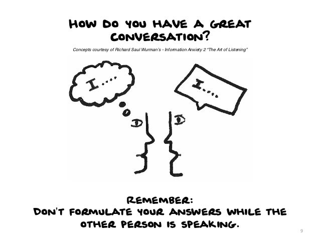 """How do you have a great          conversation?     Concepts courtesy of Richard Saul Wurman's - Information Anxiety 2 """"The..."""
