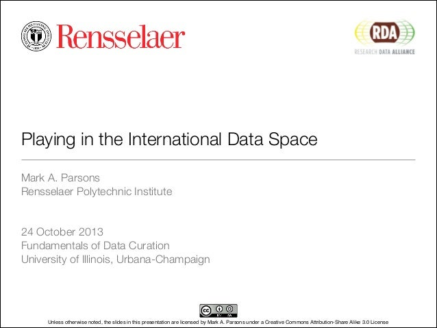 Playing in the International Data Space Mark A. Parsons Rensselaer Polytechnic Institute ! ! 24 October 2013 Fundamentals ...