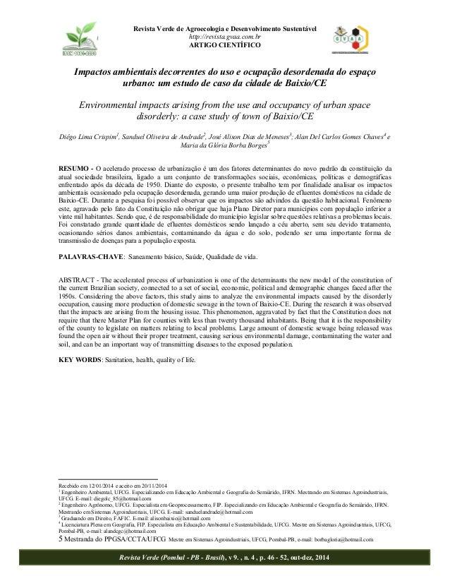 Revista Verde de Agroecologia e Desenvolvimento Sustentável  http://revista.gvaa.com.br  ARTIGO CIENTÍFICO  Impactos ambie...