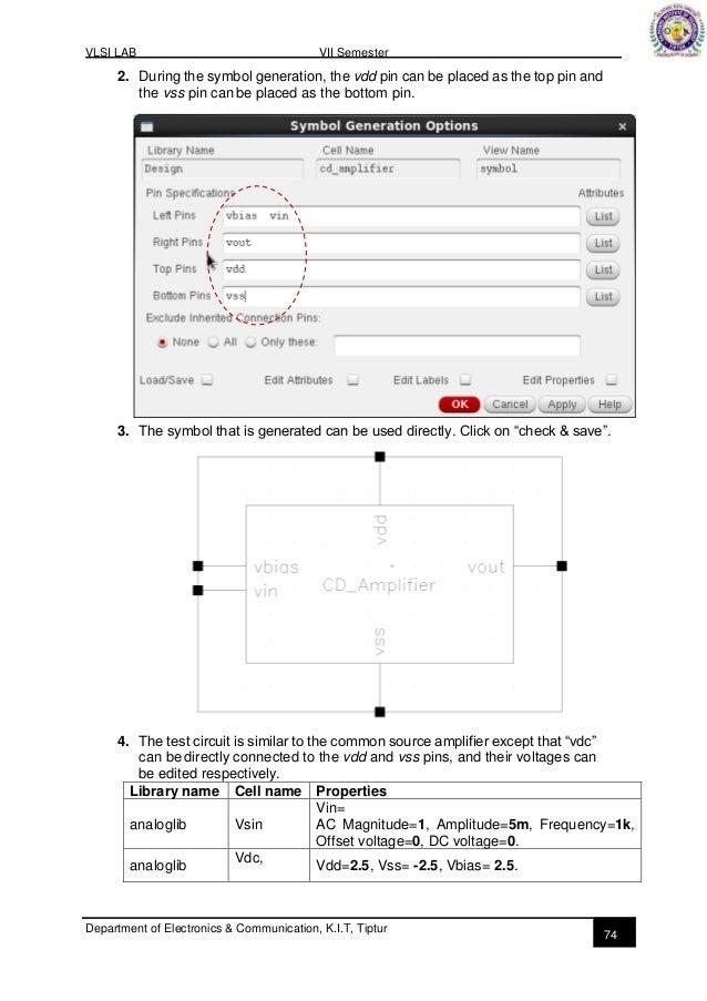 VLSI lab manual Part B, VTU 7the sem KIT-tiptur