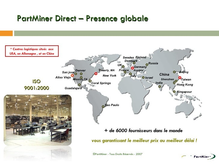 PartMiner Direct – Presence globale * Centres logistiques situés  aux USA, en Allemagne , et en Chine + de 6000 fournisseu...