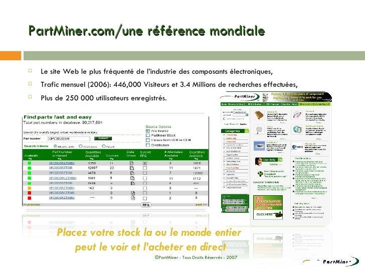 PartMiner.com/une référence mondiale <ul><li>Le site Web le plus fréquenté de l'industrie des composants électroniques, </...