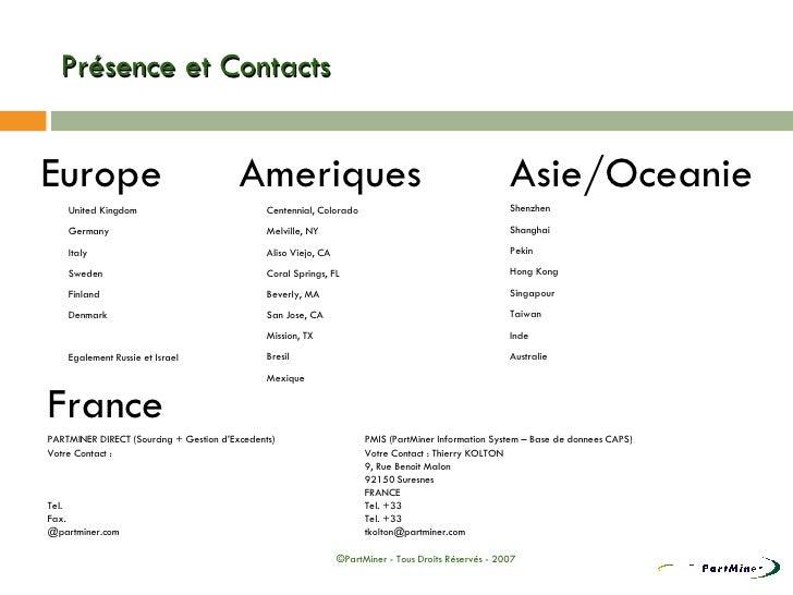 Présence et Contacts <ul><li>Ameriques </li></ul><ul><li>Centennial, Colorado  </li></ul><ul><li>Melville, NY </li></ul><u...