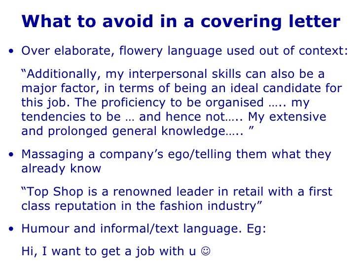 covering letter part time job
