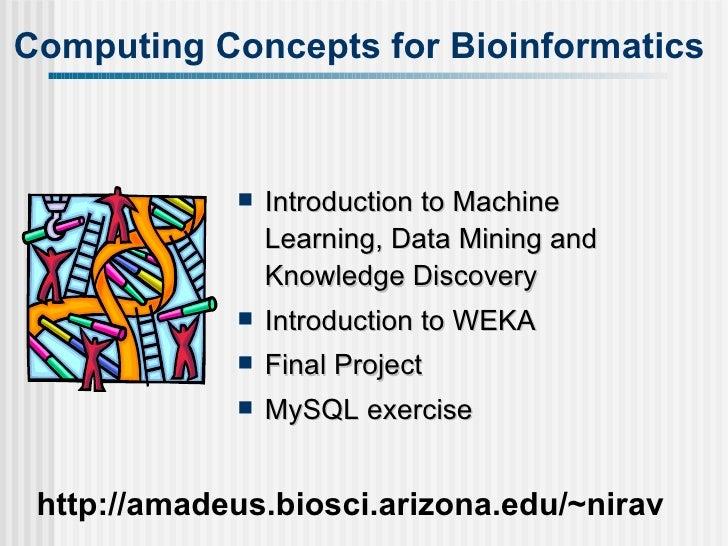 Computing Concepts for Bioinformatics http://amadeus.biosci.arizona.edu/~nirav <ul><li>Introduction to Machine Learning, D...