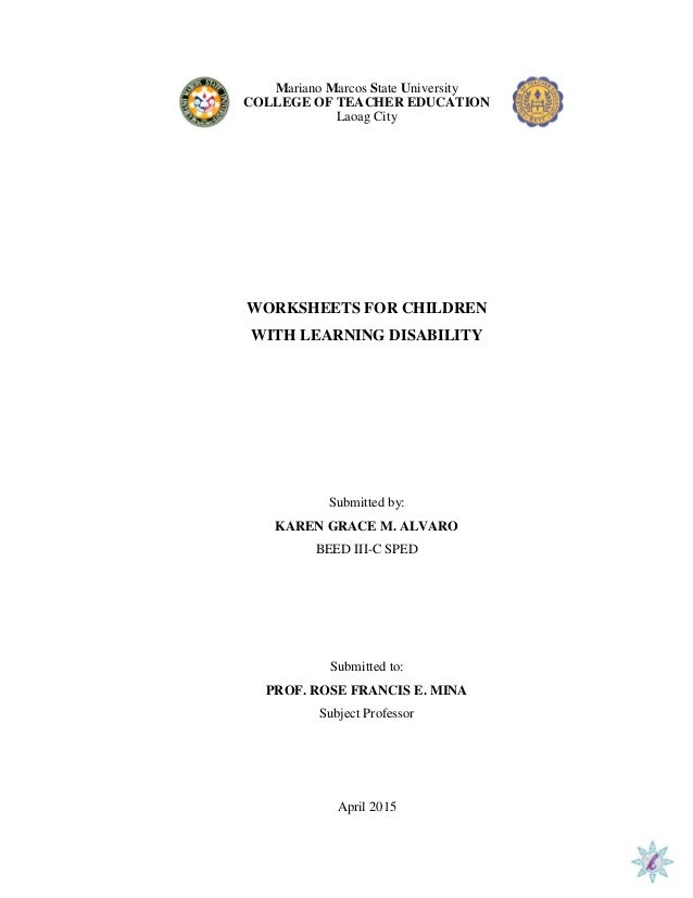 Printables Dysgraphia Worksheets worksheet for dysgraphia mariano marcos state university college of teacher education laoag city worksheets children with learning disability dysgraphia