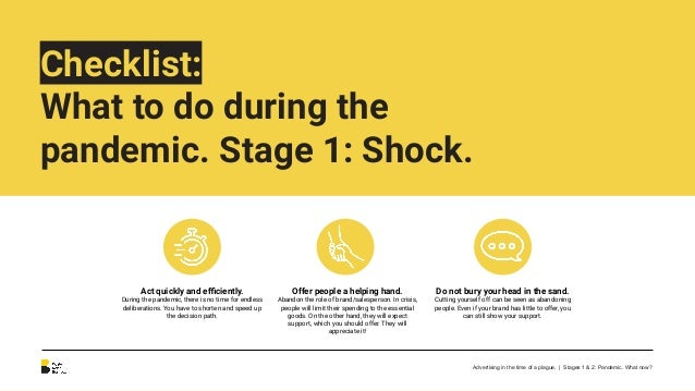 Checklist: What to do during the pandemic. Stage 2: Adaptation. Adapt your business to changes. E-commerce, contactless se...