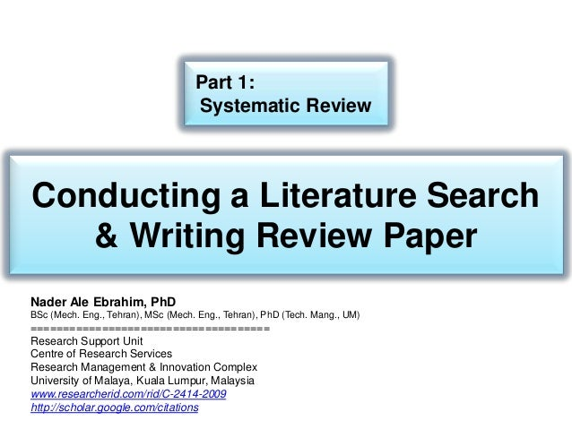 Writing a research proposal systematic review study