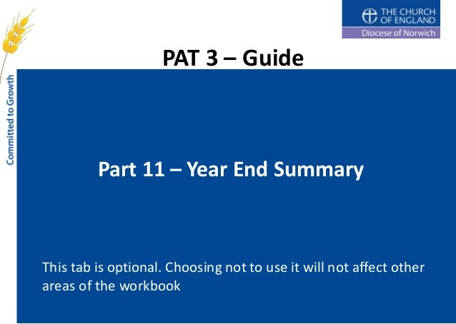 PAT 3 – Guide         Part 11 – Year End SummaryThis tab is optional. Choosing not to use it will not affect otherareas of...