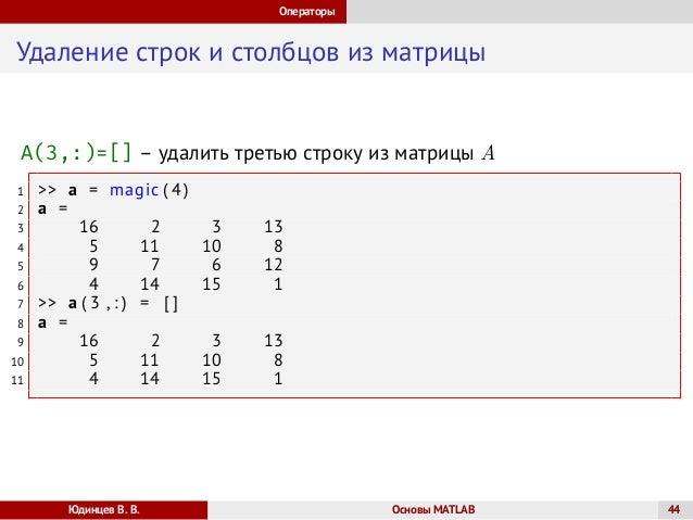 Основы Matlab Лекция 1
