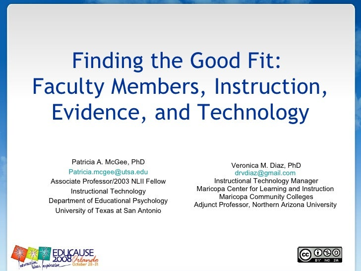 Finding the Good Fit:  Faculty Members, Instruction, Evidence, and Technology Patricia A. McGee, PhD [email_address] Assoc...