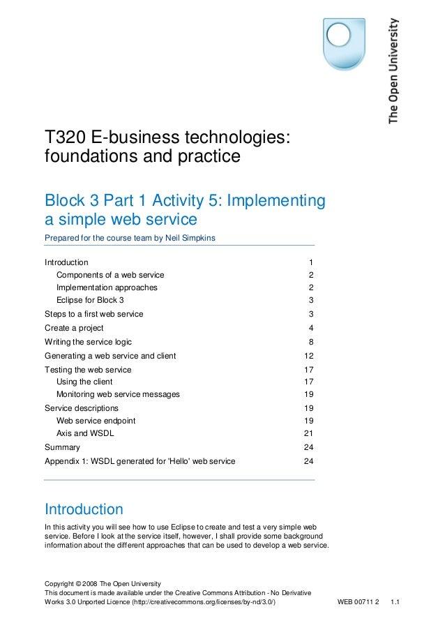 T320 E-business technologies: foundations and practice Block 3 Part 1 Activity 5: Implementing a simple web service Prepar...