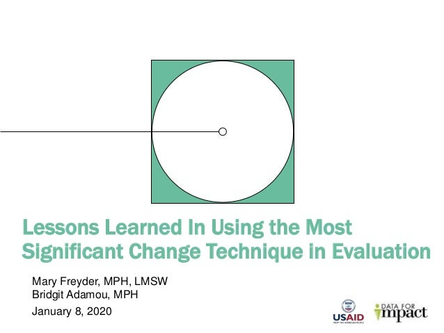 Lessons Learned In Using the Most Significant Change Technique in Evaluation Mary Freyder, MPH, LMSW Bridgit Adamou, MPH J...