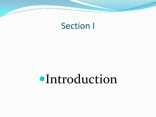Section I Introduction