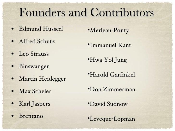 Founders and Contributors <ul><li>Edmund Husserl </li></ul><ul><li>Alfred Schutz </li></ul><ul><li>Leo Strauss </li></ul><...