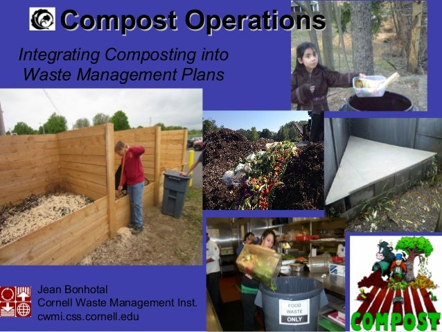 Jean Bonhotal Cornell Waste Management Inst. cwmi.css.cornell.edu Compost OperationsCompost Operations Integrating Compost...